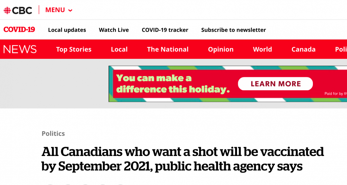 All Canadians who want a shot, will be vaccinated by September 2021