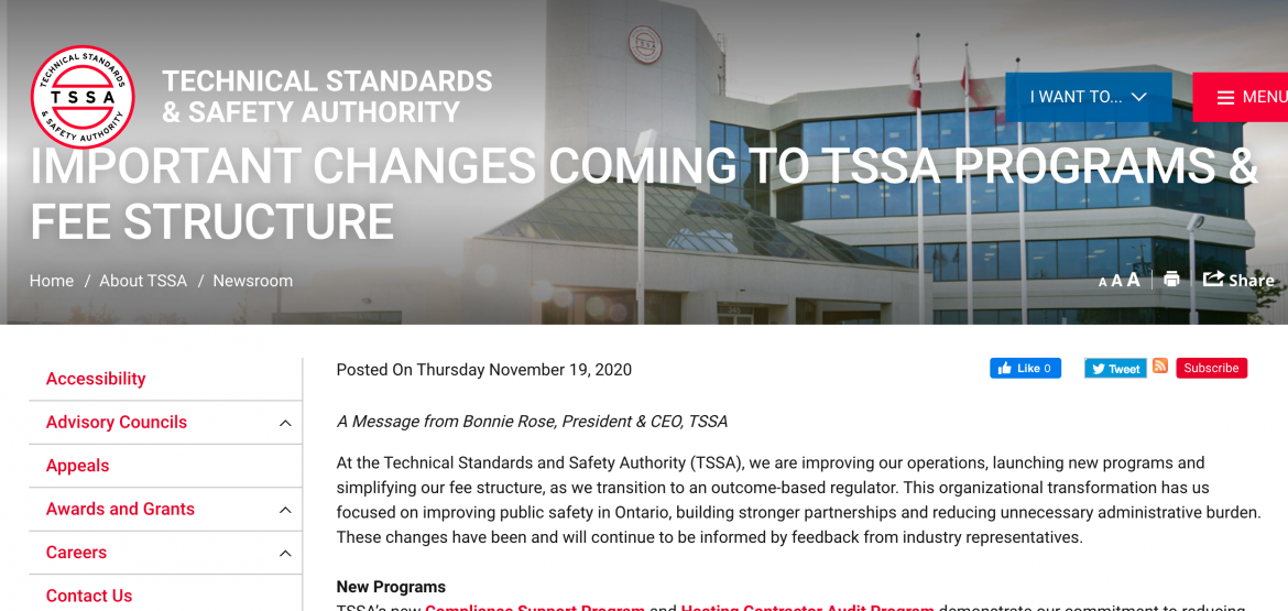 Ontario – IMPORTANT CHANGES COMING TO TSSA PROGRAMS & FEE STRUCTURE